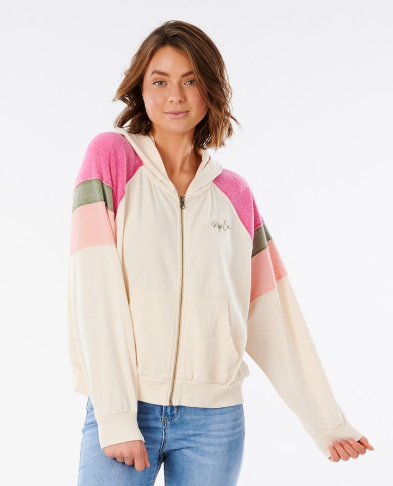 Shore Side Zip Through Fleece in Off White