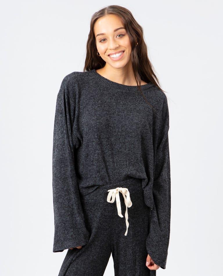 Cozy Crop Crew Neck Fleece in Black