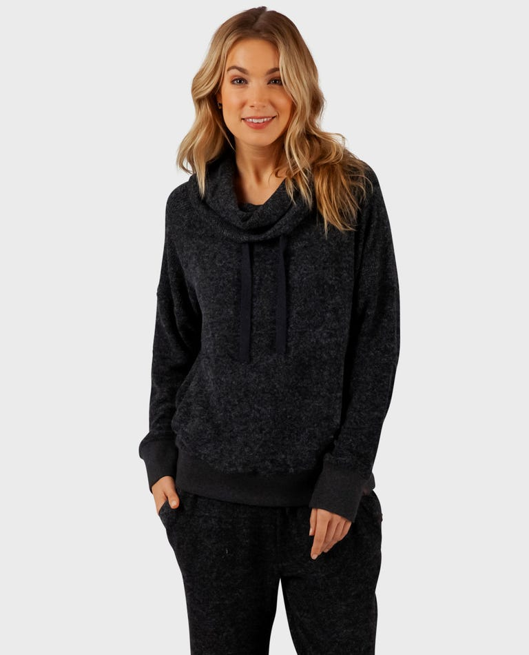Cosy Fleece Pullover in Black Heather