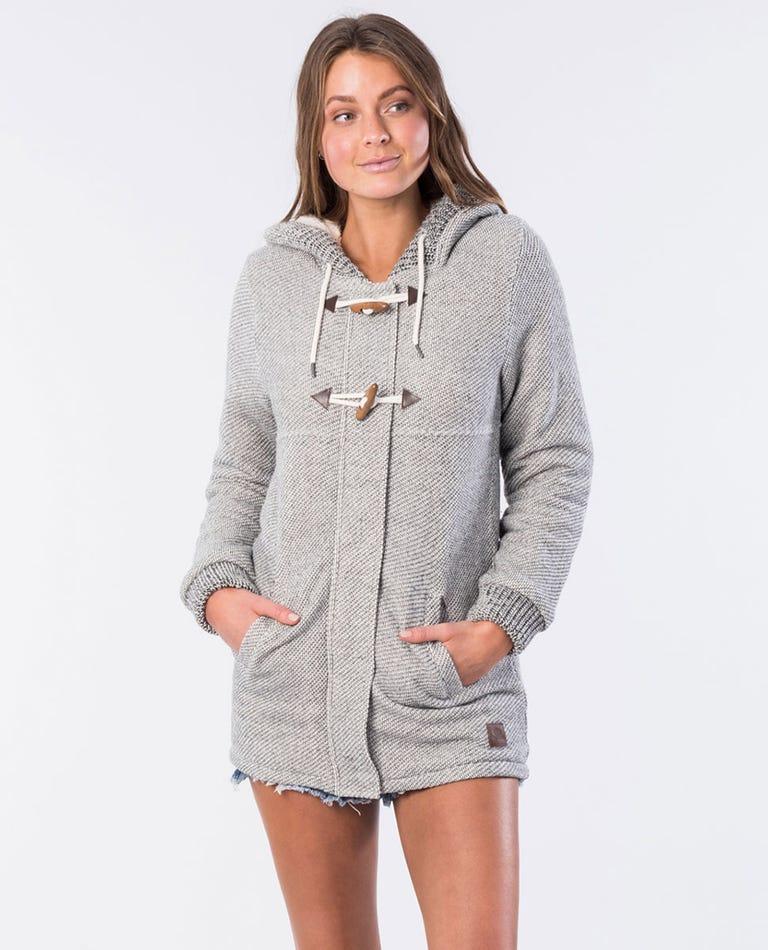 Denny Longline Fleece Jacket in Ecru Marle