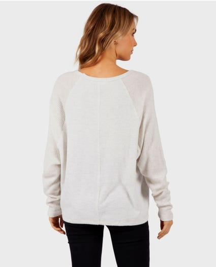 Cosy V Neck Fleece in Light Grey Heather