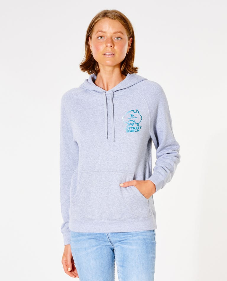 Womens Rotto Search Hood in Light Grey Marle