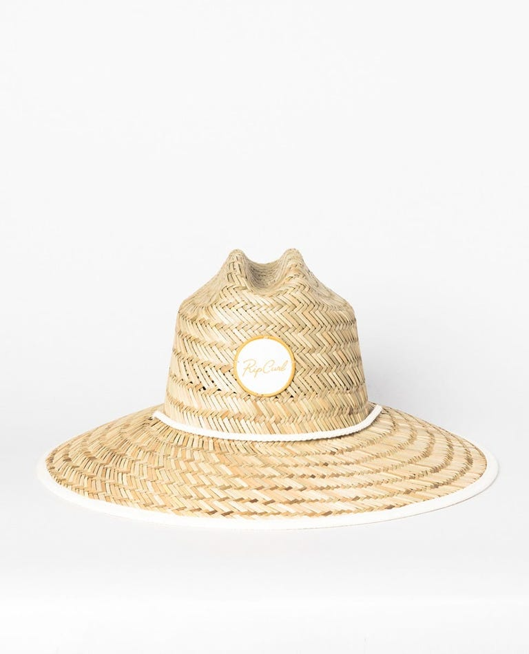 Script Straw Sun Hat in Natural/Bone
