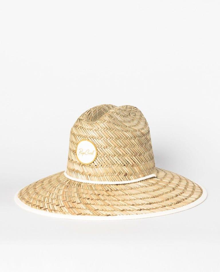Script Straw Sun Hat in Natural/Bone