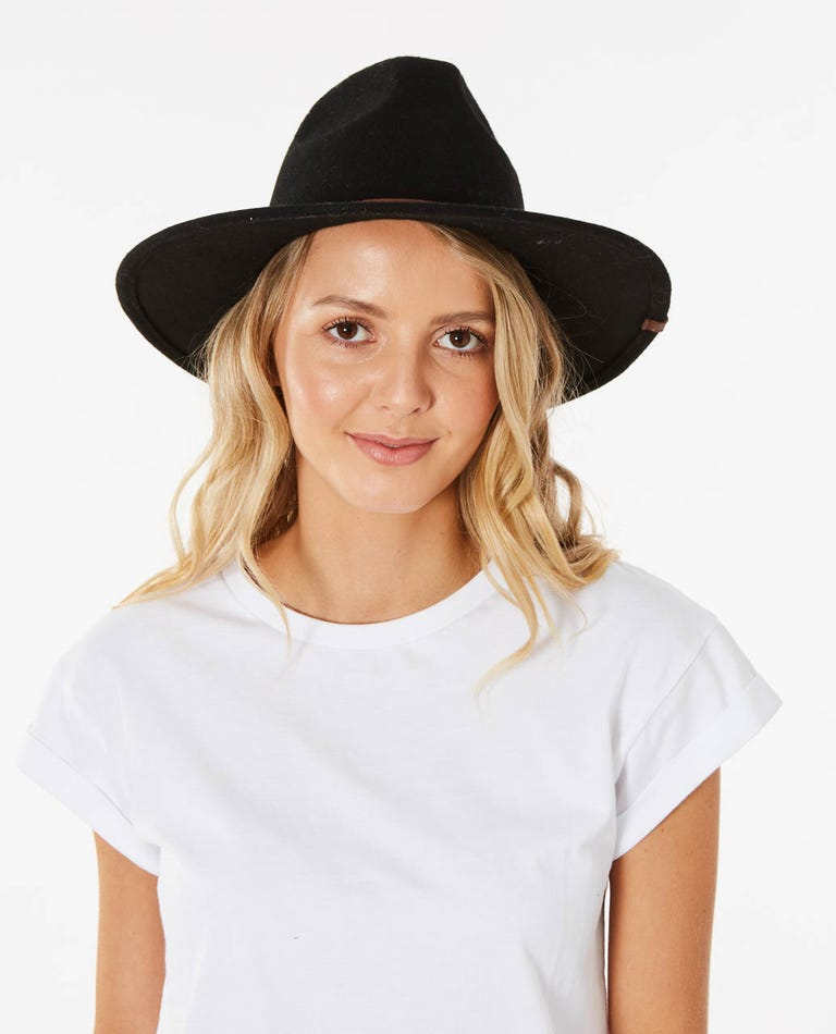 Sierra Wool Panama Hat in Black