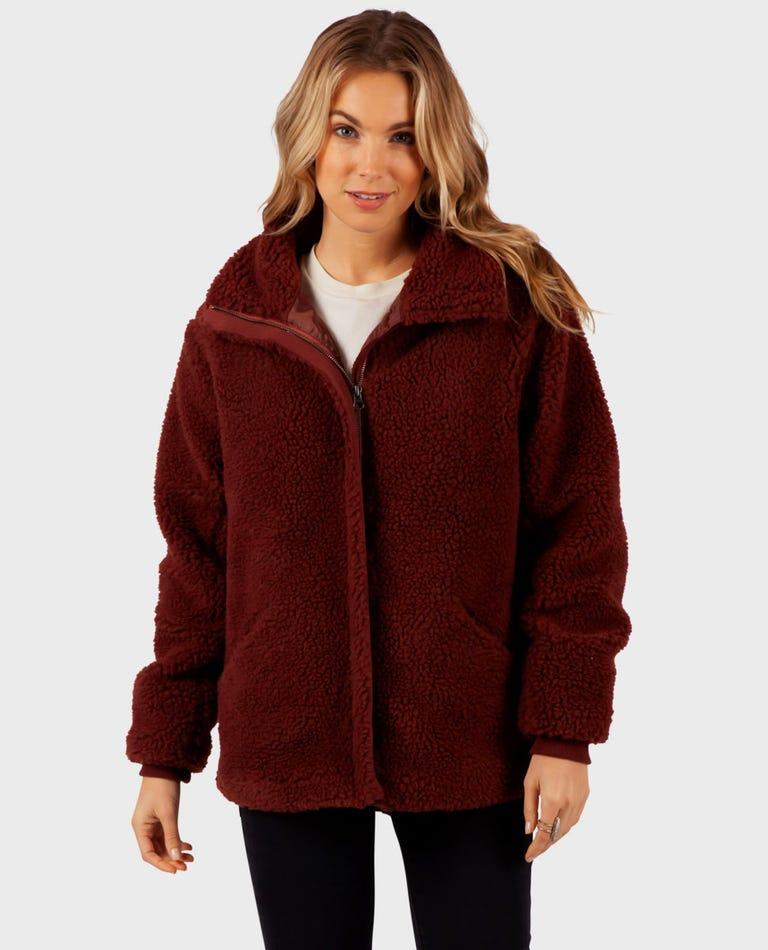 Lumber Sherpa Zip Up Jacket in Dusty Rose