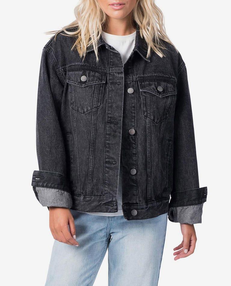 Surf Craft Denim Jacket in Washed Black