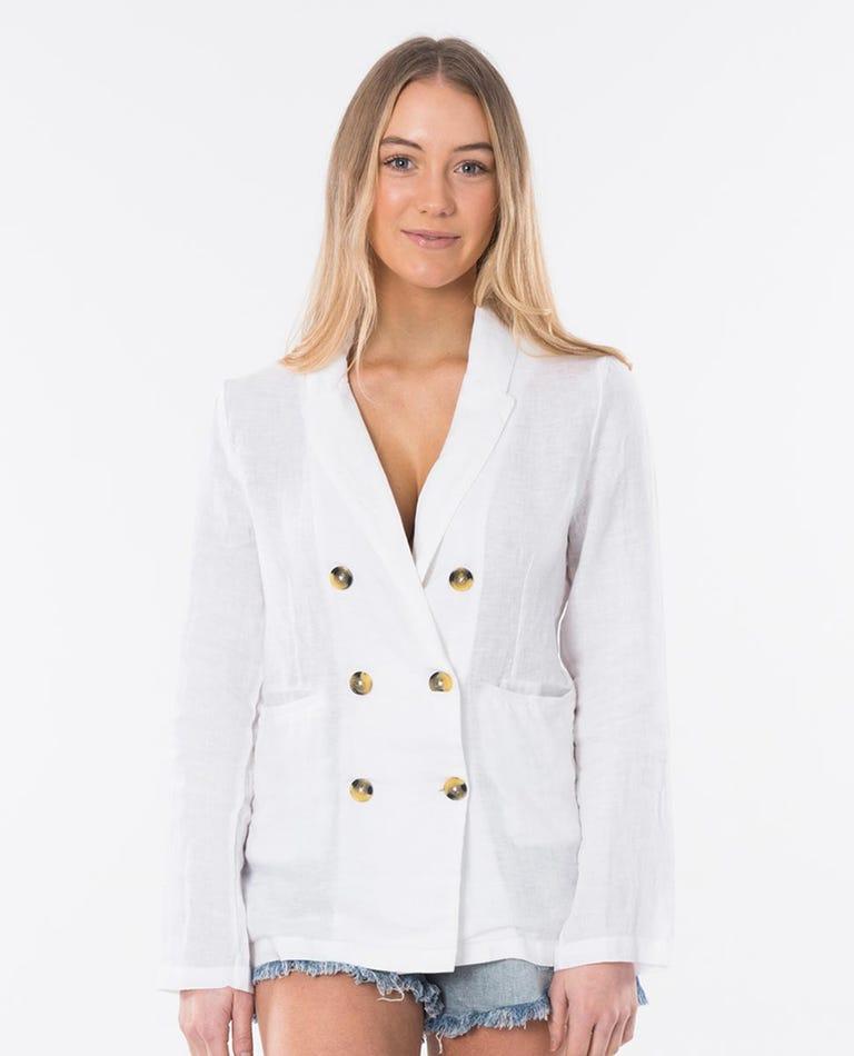 Beachcomba Linen Blazer in White
