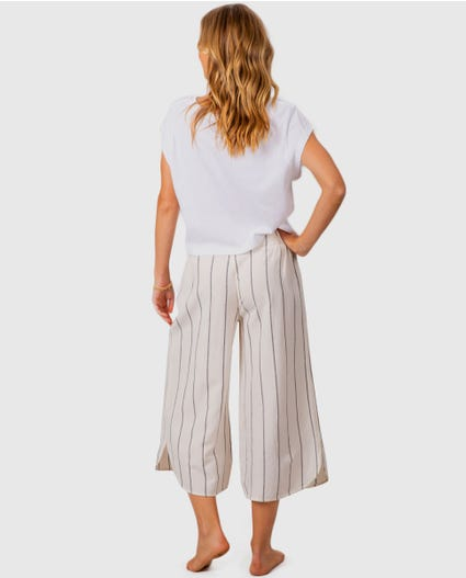Striped Crop Pant in Black/White