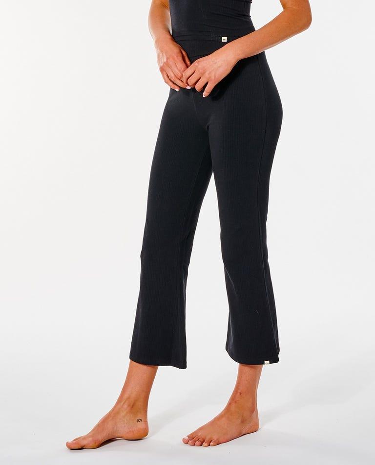Premium Rib Crop Pant in Black