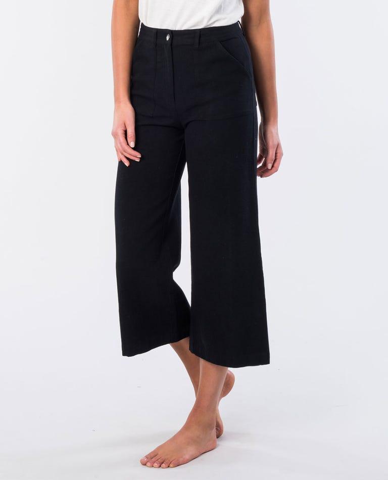 Essex Cotton Straight Leg Pant in Black