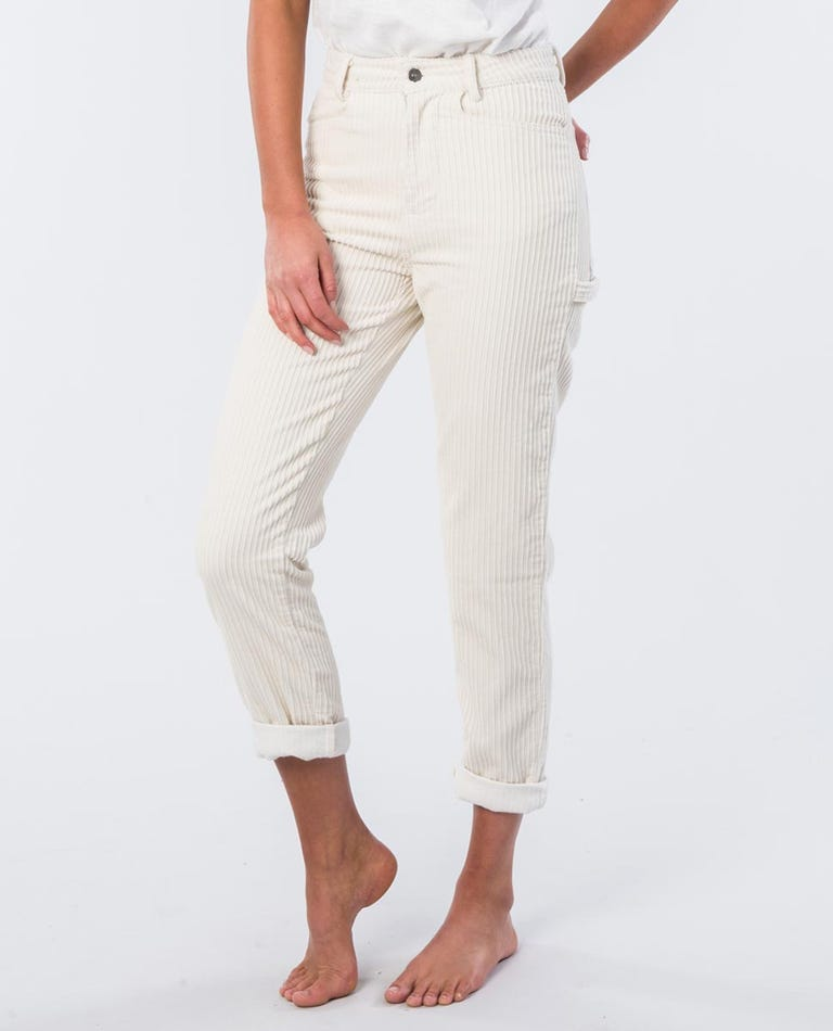 Courtney Cotton Cord Relaxed Fit Pant in Bone