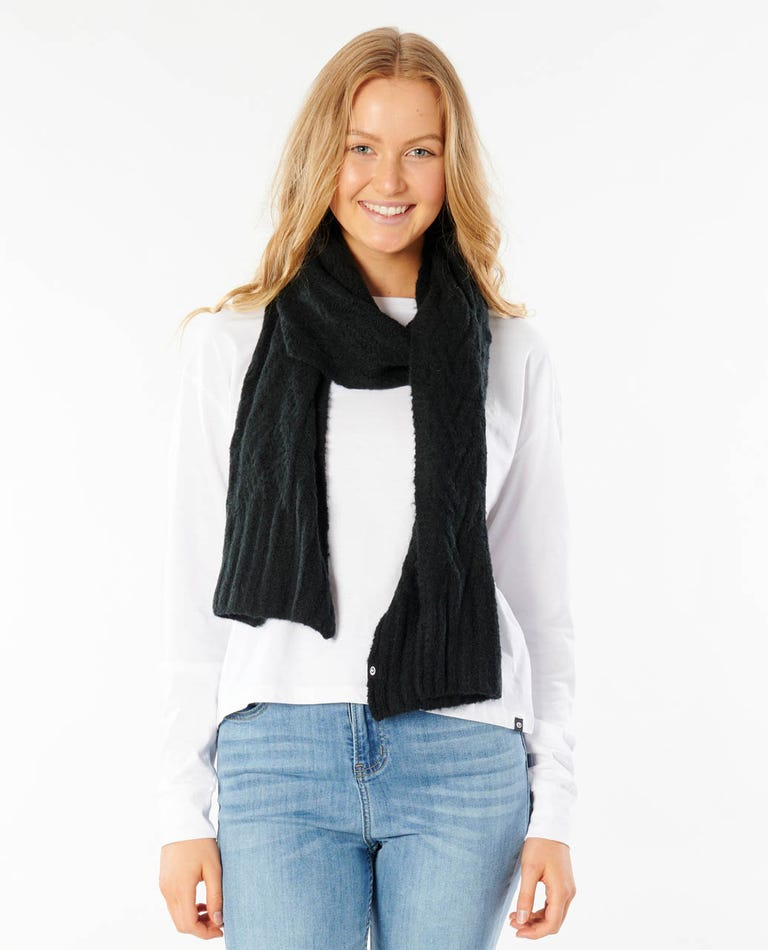Cabled Scarf in Black