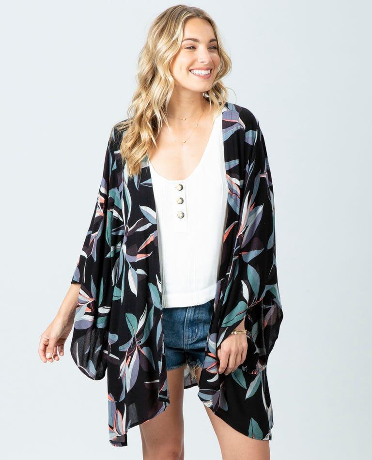 Palm Bay Kimono in Black