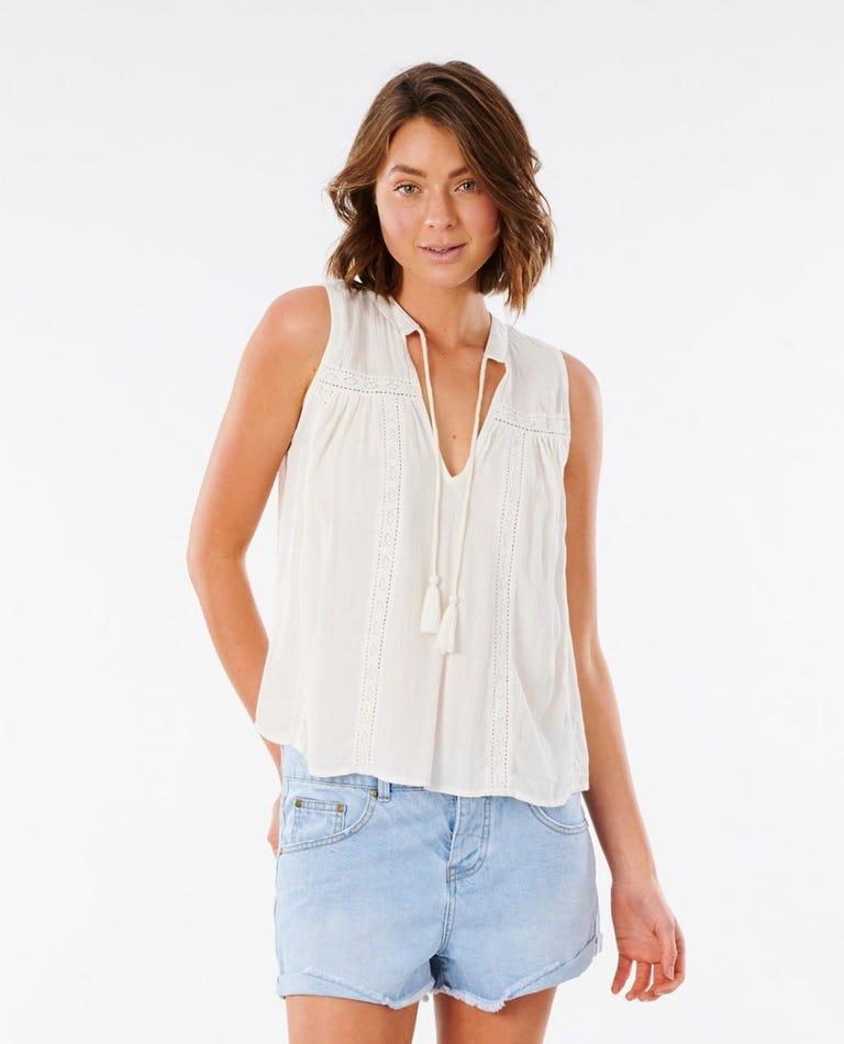 Layla Sleeveless Shirt in White