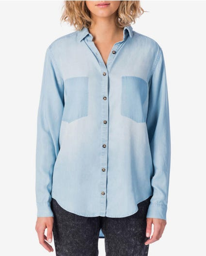 Bluff Long Sleeve Shirt in Vintage Blue