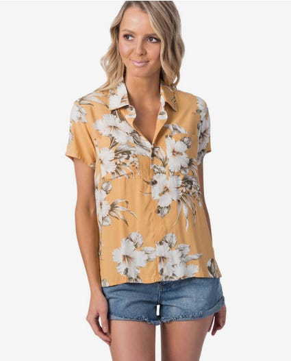 Island Time Party Shirt in Mustard