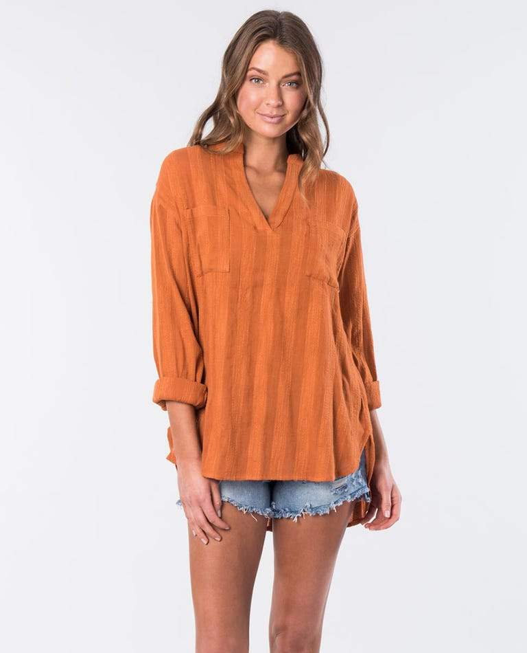 Pines Long Sleeved Relaxed Fit Shirt in Burnt Orange