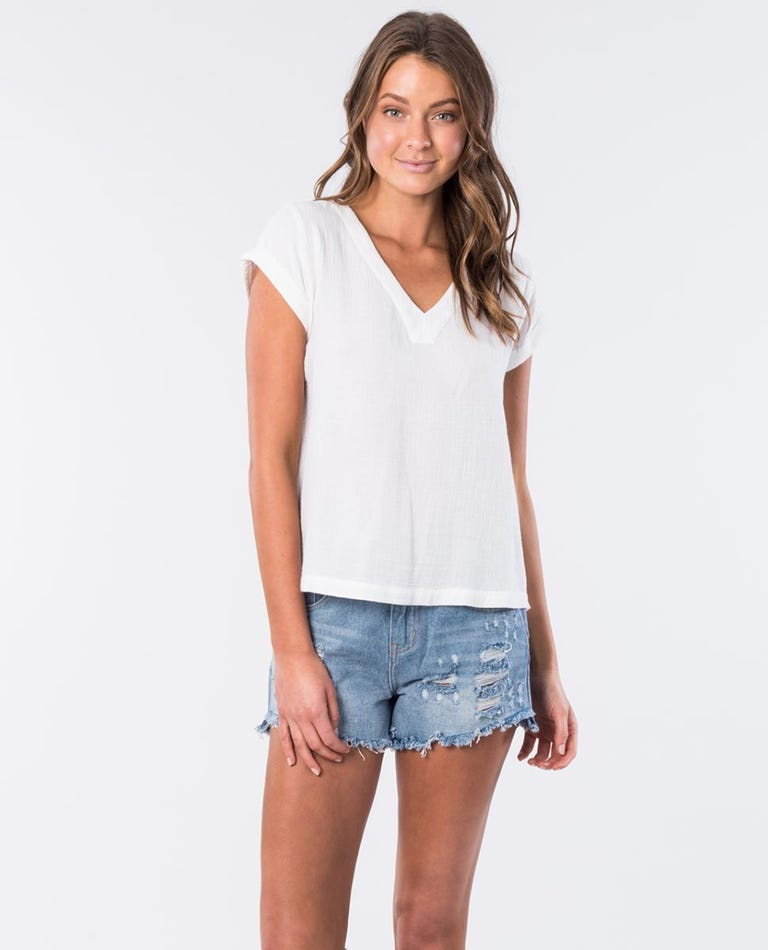Bower Cotton V Neck Top in Bone