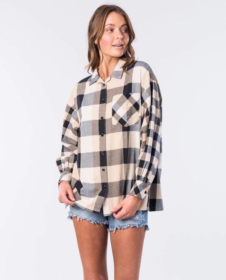 Lottie Cotton Oversized Shirt in Natural