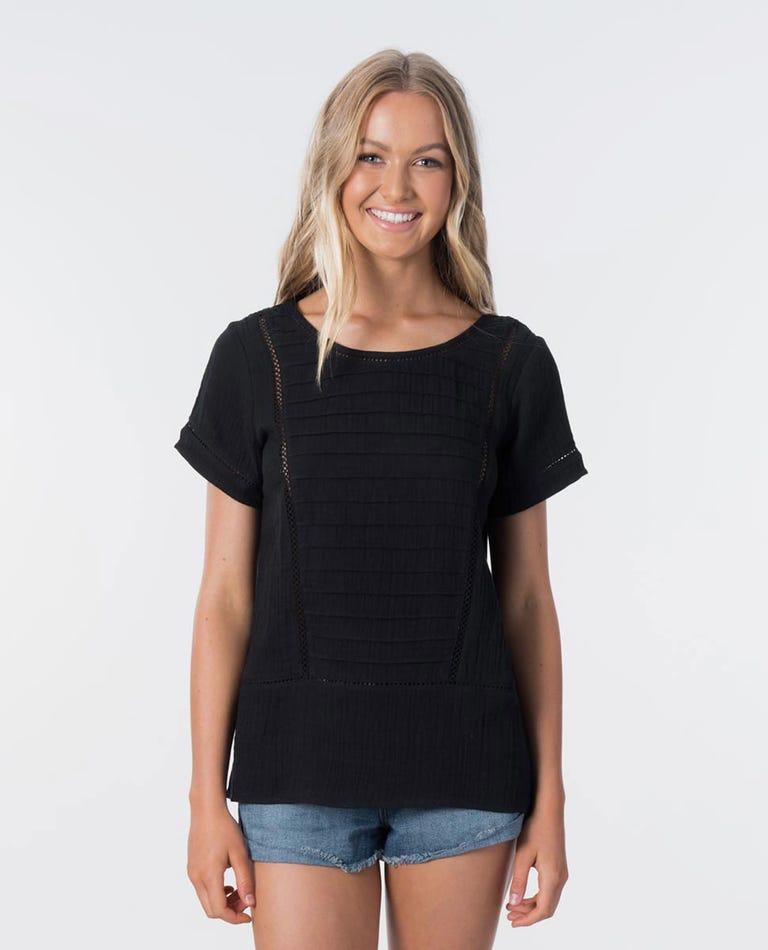 Bombay Short Sleeve Top in Black