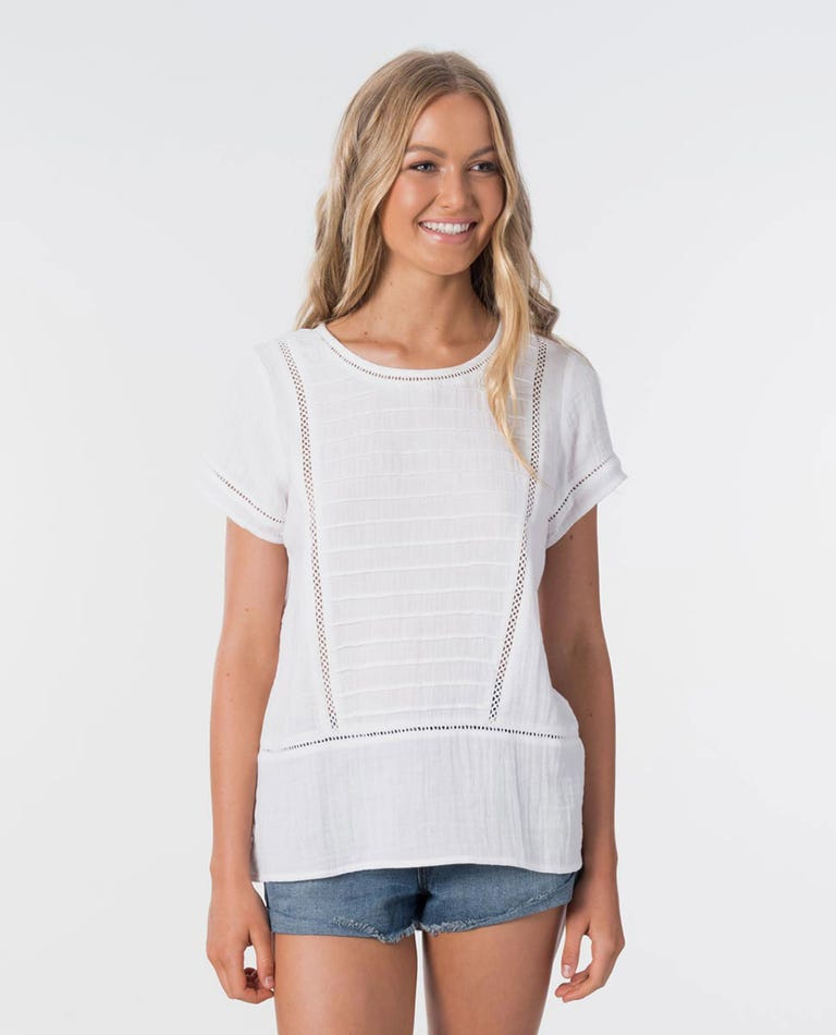 Bombay Short Sleeve Top in White