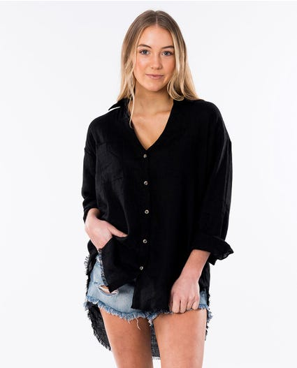 Beachcomba Linen Shirt in Black