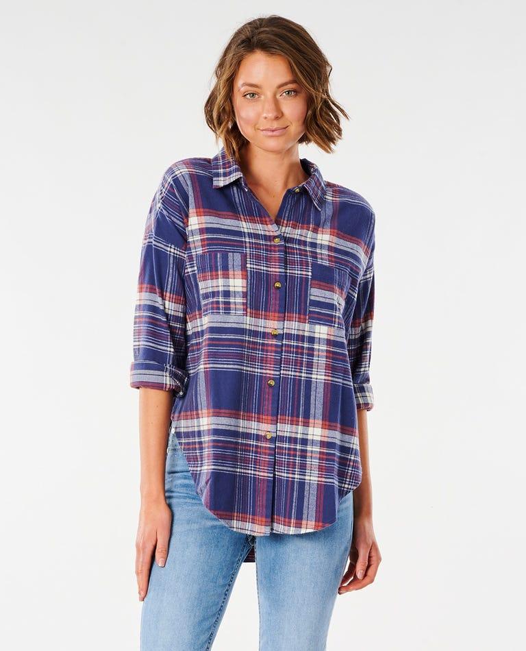 Sayulita Flannel Shirt in Vintage Navy