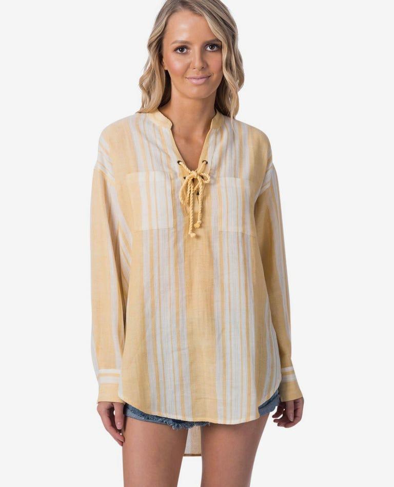 Seaside Stripe Beach Shirt in Gold