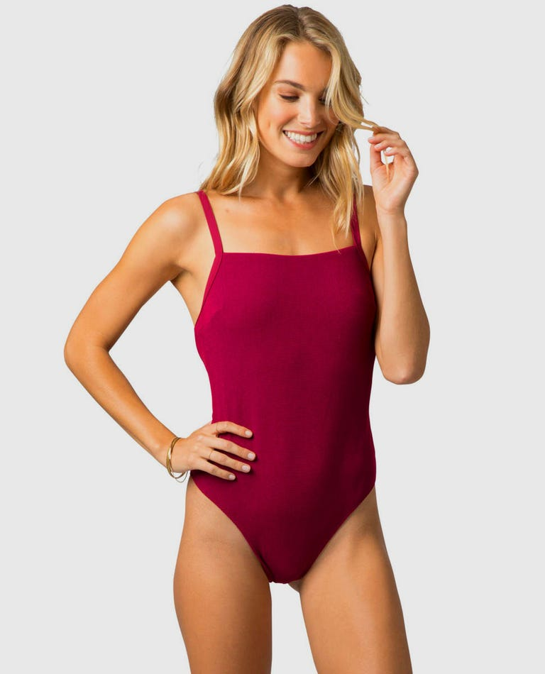 Premium Surf Good One Piece in Dark Red