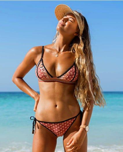 Saffron Skies Fixed Tri Bikini Top in Rust