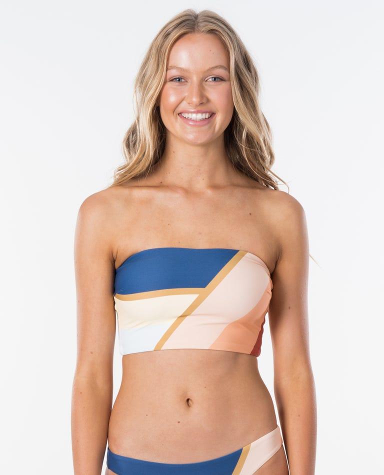 Sunsetters Block Bandeau Bikini Top in Peach