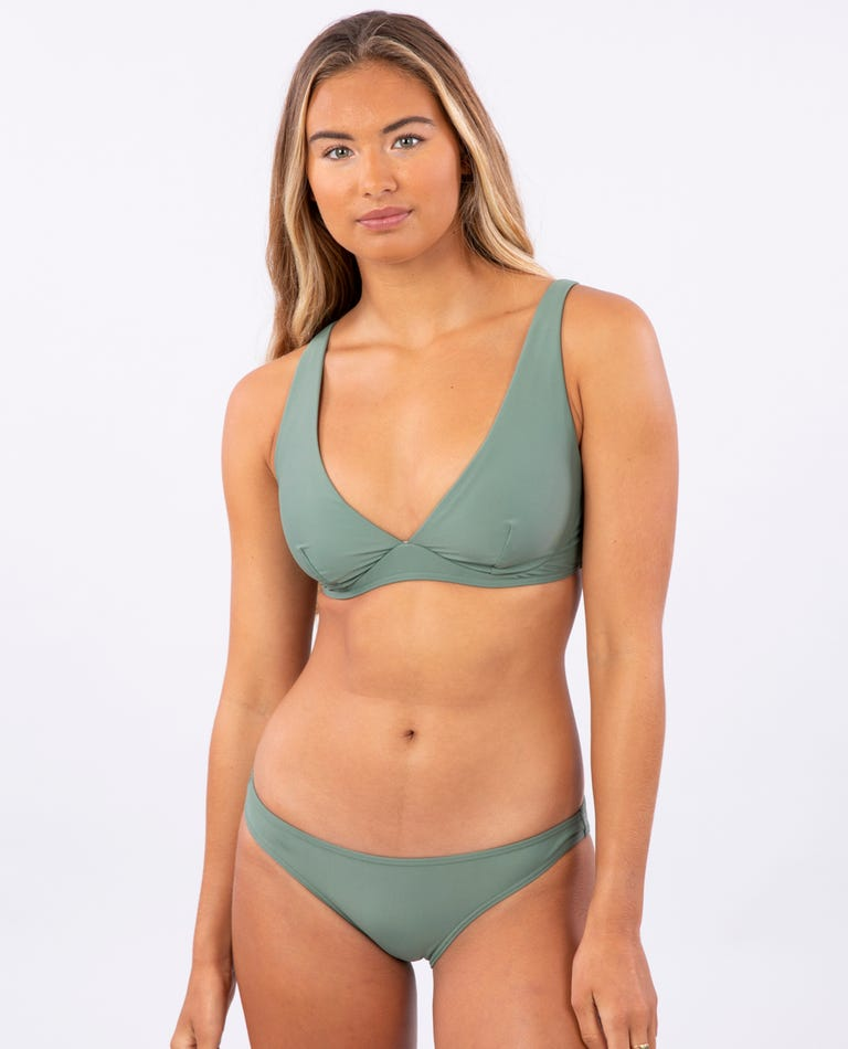 Classic Surf Eco D-DD Plunge Bikini Top in Olive