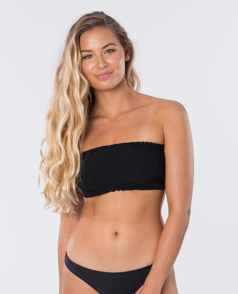 Classic Surf Eco Shirred Bandeau in Black