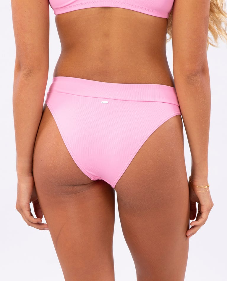 Eco Rib High Leg Cheeky Bikini Bottom in Pink