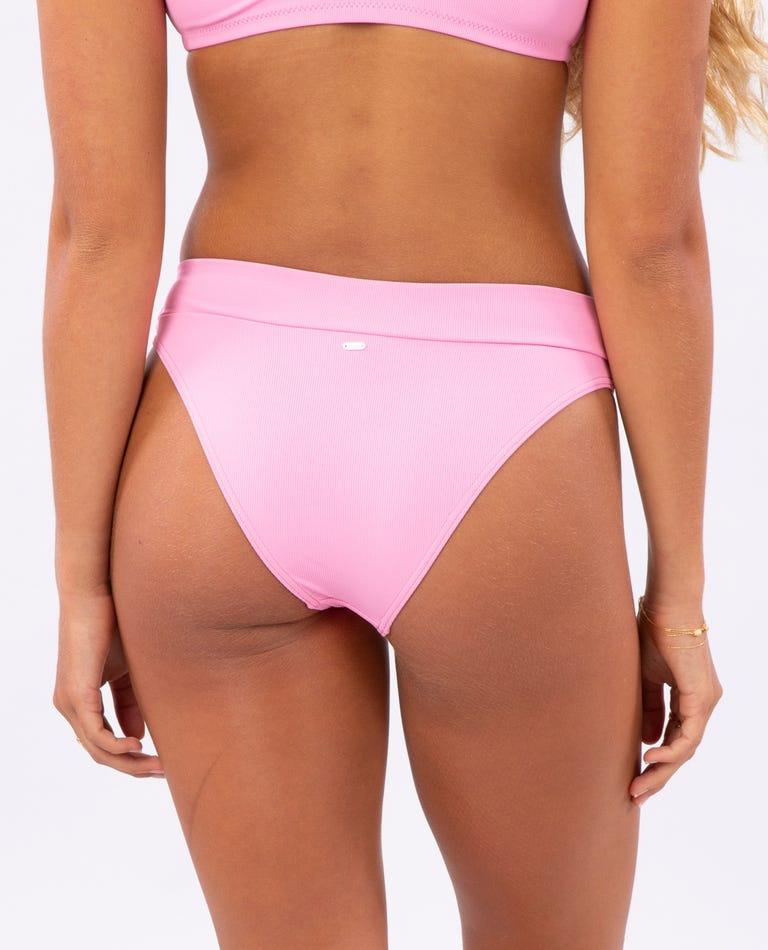 Eco Rib High Leg Cheeky Bikini Bottom in Pink