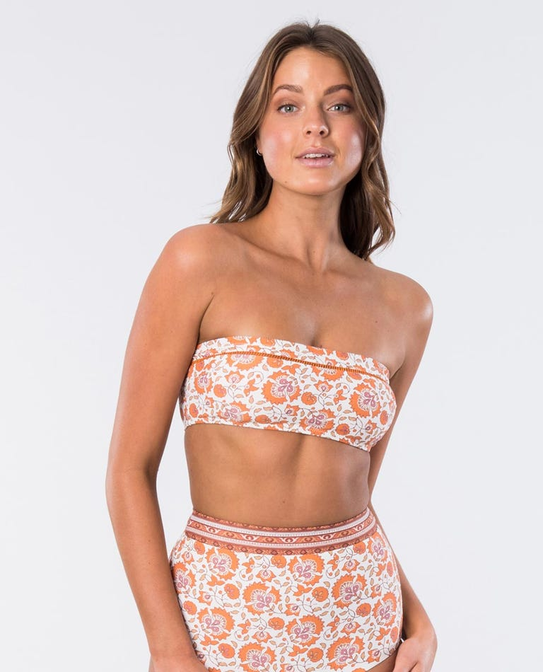 Spice Temple Bandeau Bikini Top in Burnt Orange