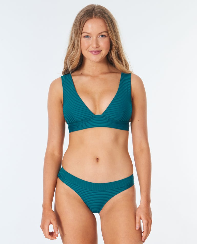 Premium Surf Deep V Bikini Top in Jade