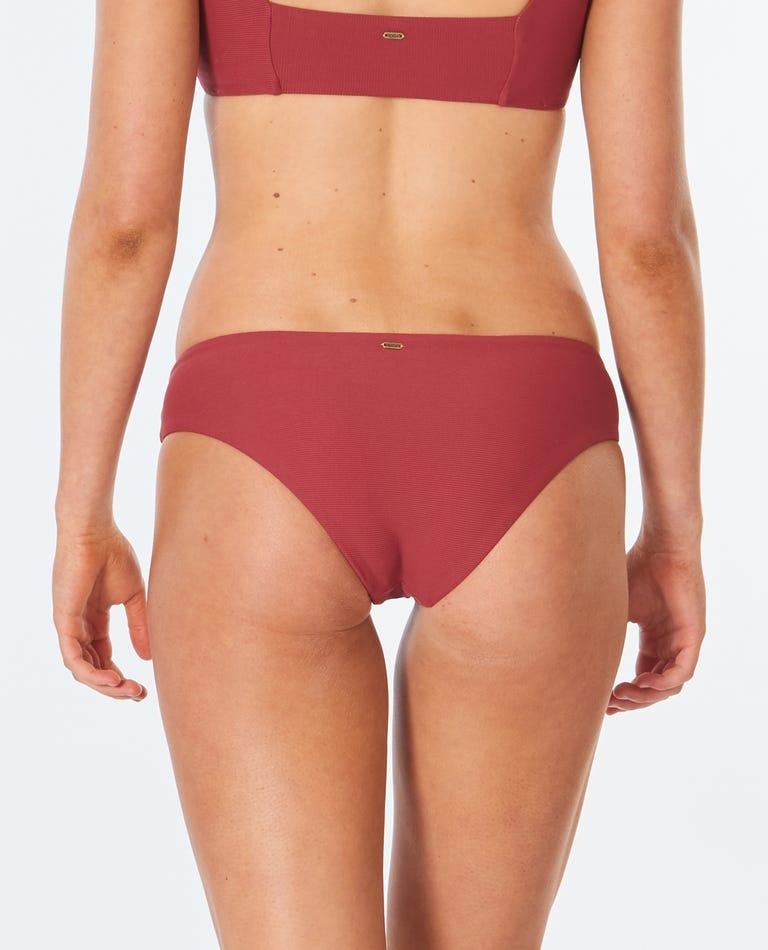 Golden Days Block Good Bikini Bottom in Maroon