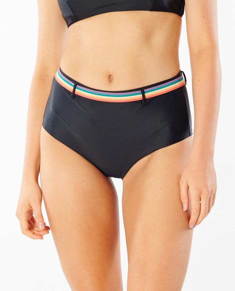 Born At Bells Hi Waist Bikini Bottom in Black