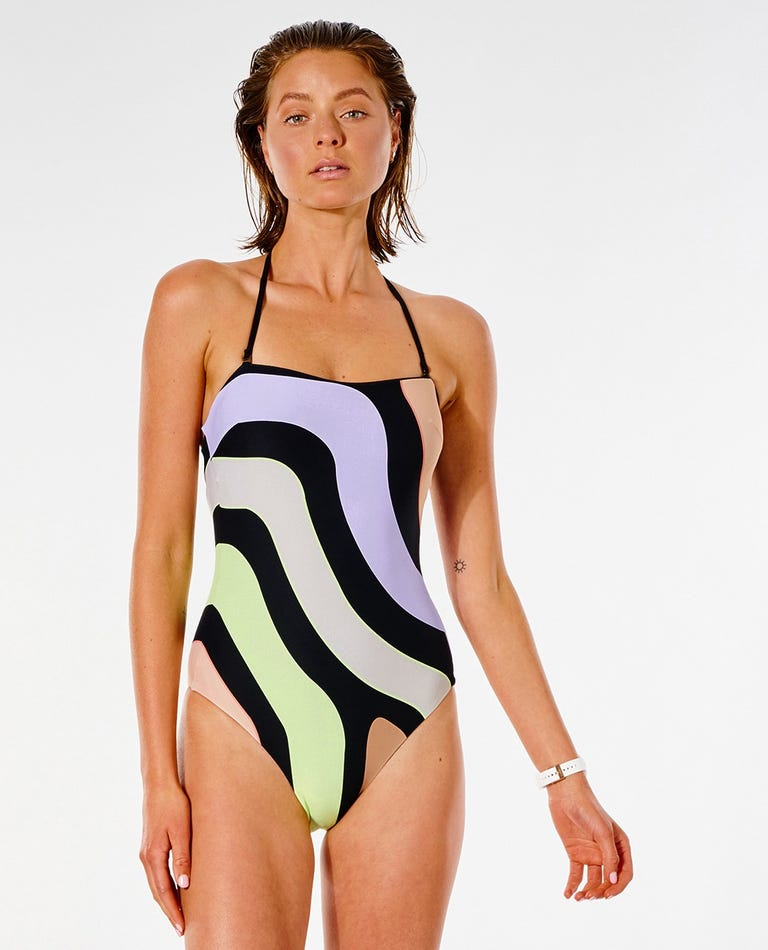 Glider Bandeau One Piece Swimsuit in Black