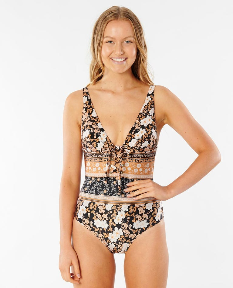 Marigold Full Coverage One Piece Swimsuit in Black