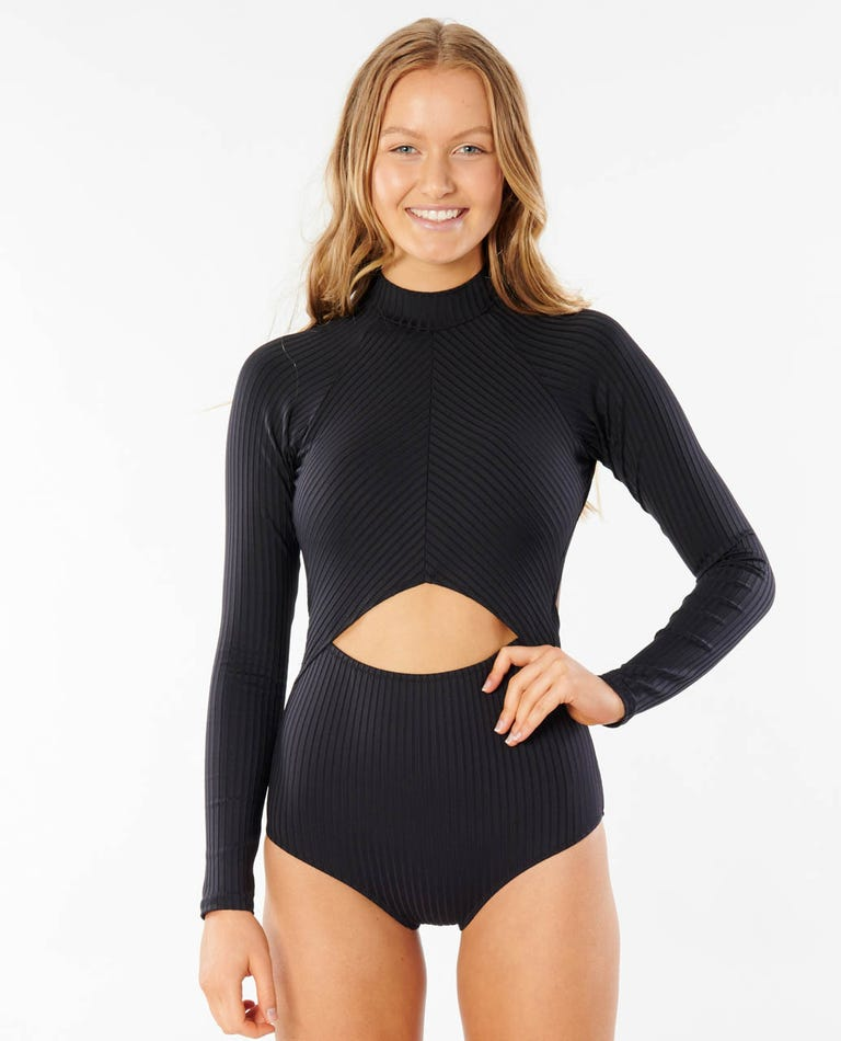 Premium Surf Good Long Sleeve One Piece in Black
