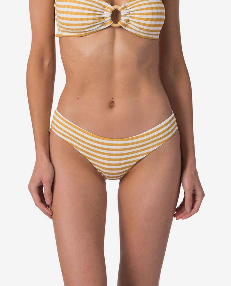 Island Stripe Good Bikini Bottom in Mustard
