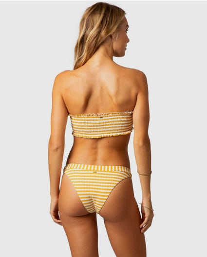 Island Stripe Hi Leg Skimpy Bikini Bottom in Mustard