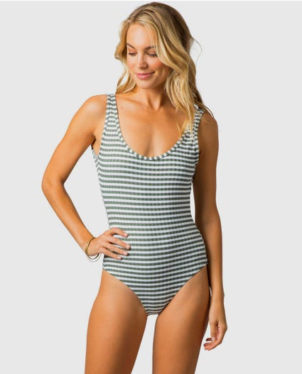 Island Stripe Good One Piece in Mustard