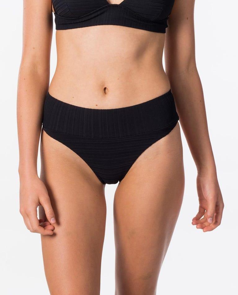 Premium Surf High Waist Cheeky Bikini Bottom in Black