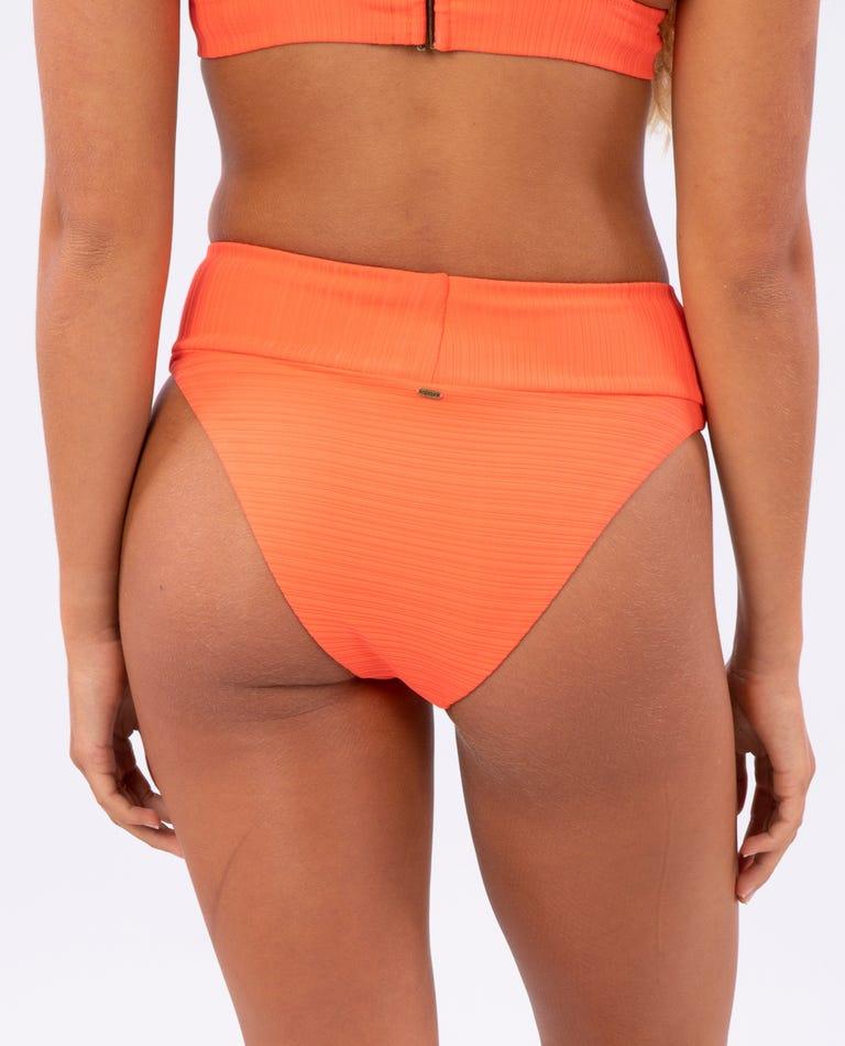 Premium Surf High Waist Cheeky Bikini Bottom in Hot Coral