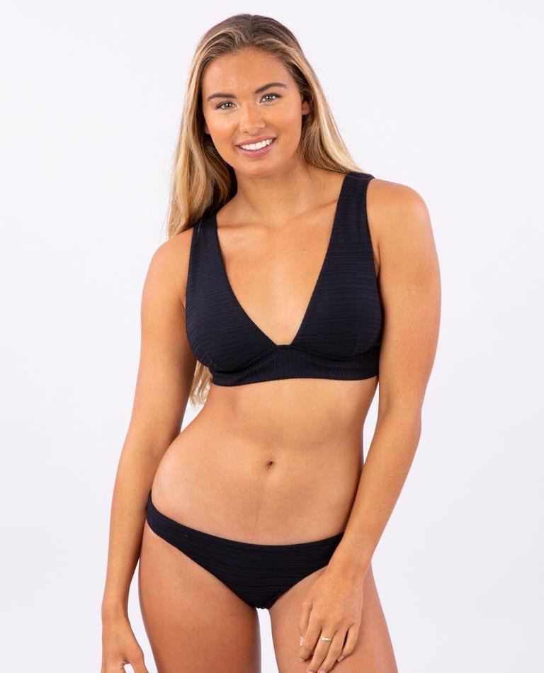 Premium Surf Deep V Bikini Top in Black