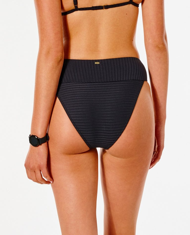 Premium Surf High Waist Bikini Bottom in Black